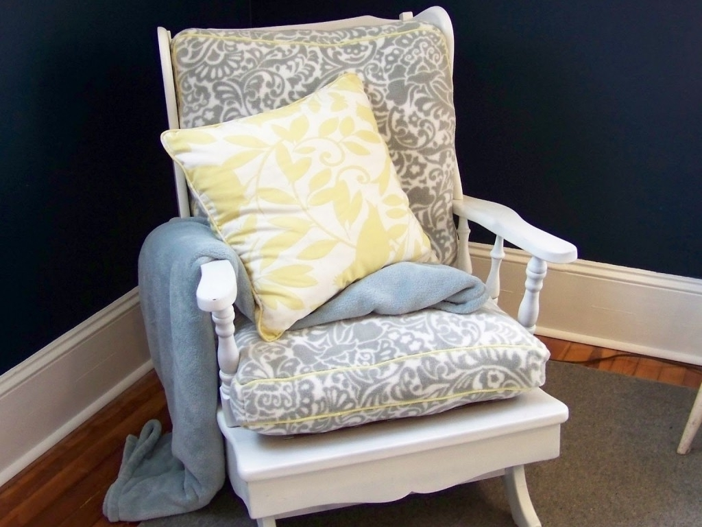 Recent Yellow Cushions For Rocking Chairs With Floral Motif Design (View 10 of 15)
