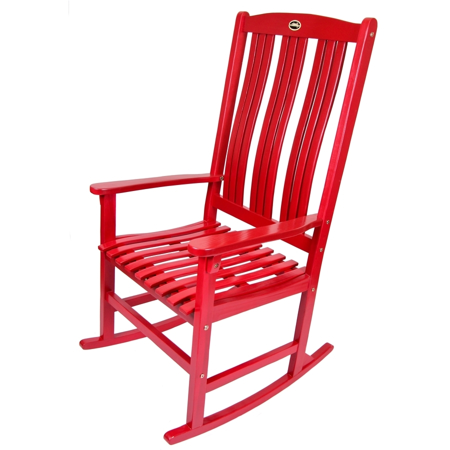 Red Patio Rocking Chairs Intended For Well Liked Shop Red Wood Slat Seat Outdoor Rocking Chair At Lowes (View 5 of 15)