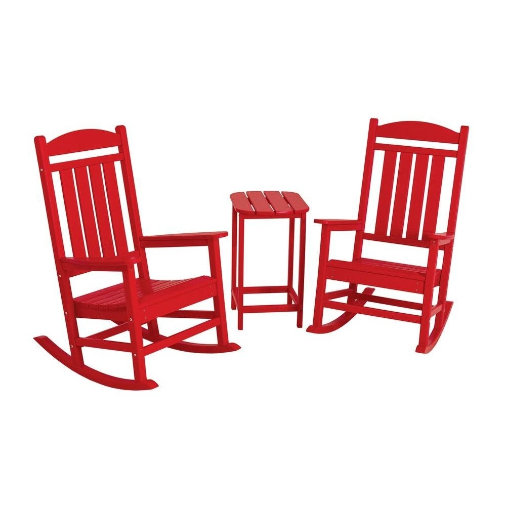 Red Patio Rocking Chairs Regarding Latest Polywood Presidential Sunset Red 3 Piece Patio Rocker Set Pws139 (View 12 of 15)