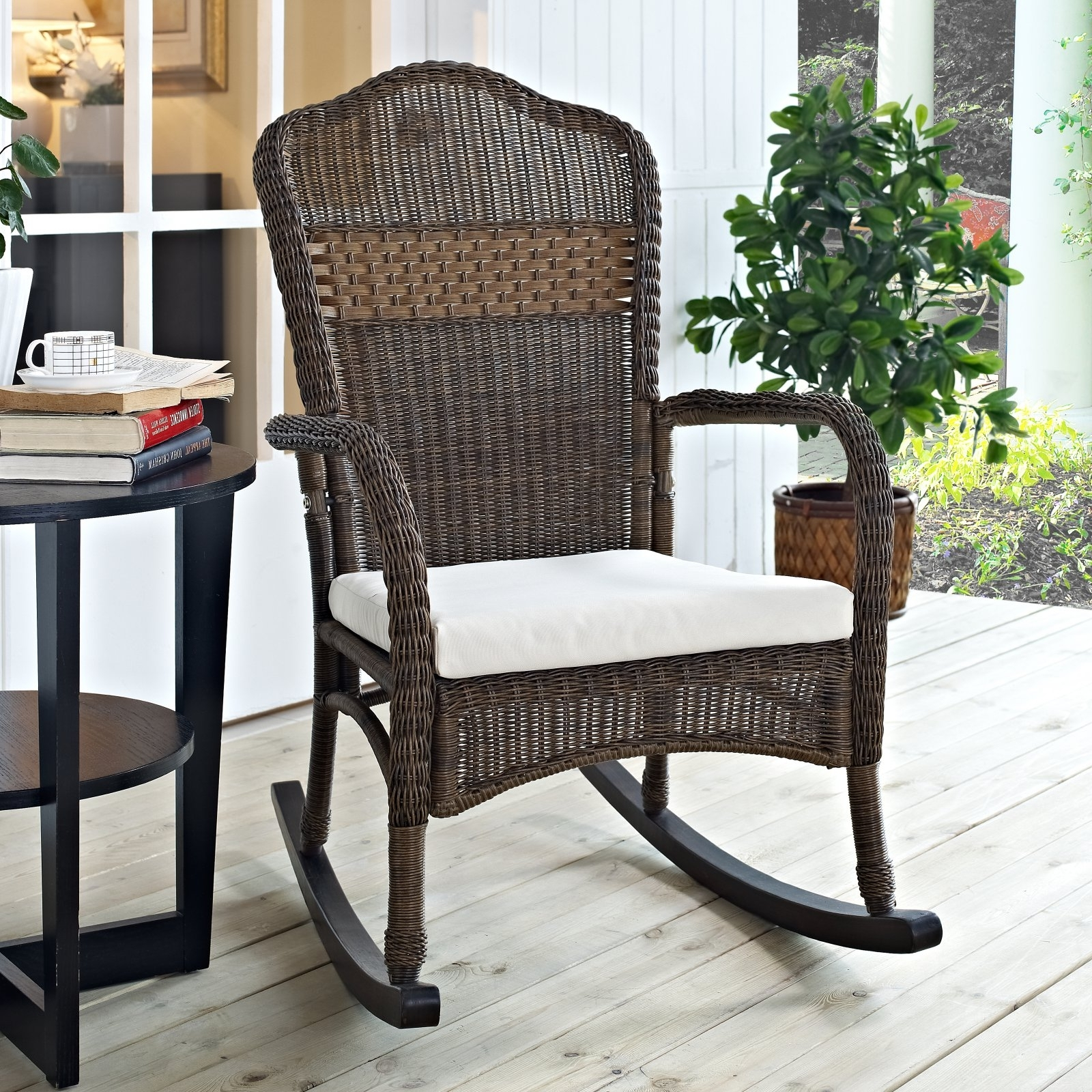 Resin Patio Rocking Chairs Inside Current Coral Coast Mocha Resin Wicker Rocking Chair With Beige Cushion (View 3 of 15)