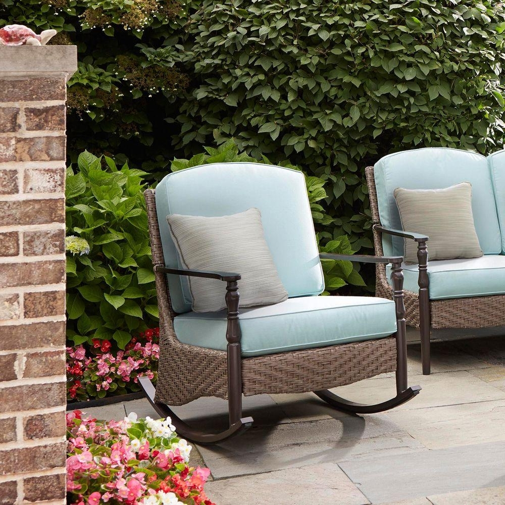 Resin Wicker Patio Rocking Chairs Within Current Wicker Patio Furniture – Rocking Chairs – Patio Chairs – The Home Depot (View 11 of 15)