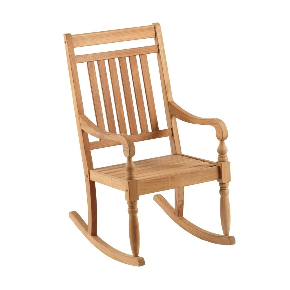 Rocking Chairs At Home Depot In Best And Newest Hampton Bay Teak Rocking Chair It 130752t – The Home Depot (View 12 of 15)