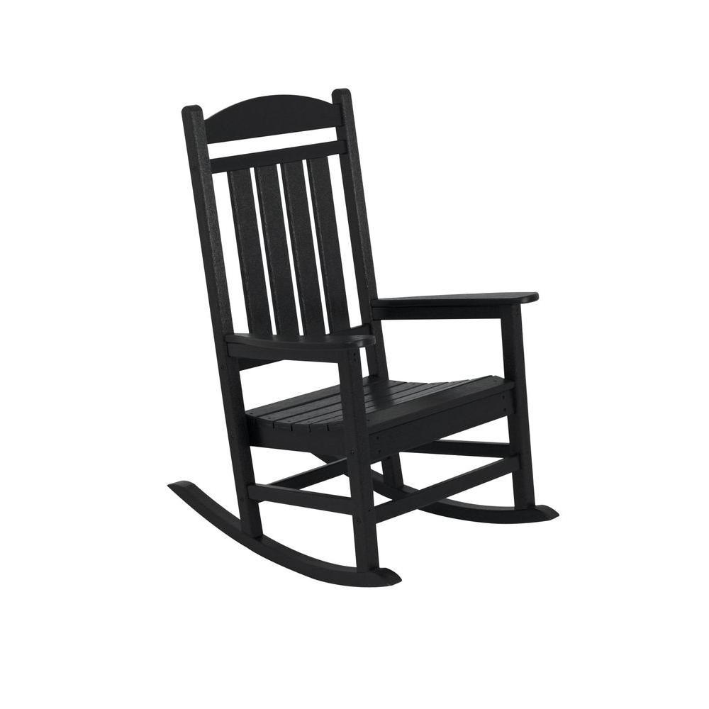Rocking Chairs At Home Depot Inside 2017 Polywood Presidential Black Patio Rocker R100Bl – The Home Depot (View 14 of 15)
