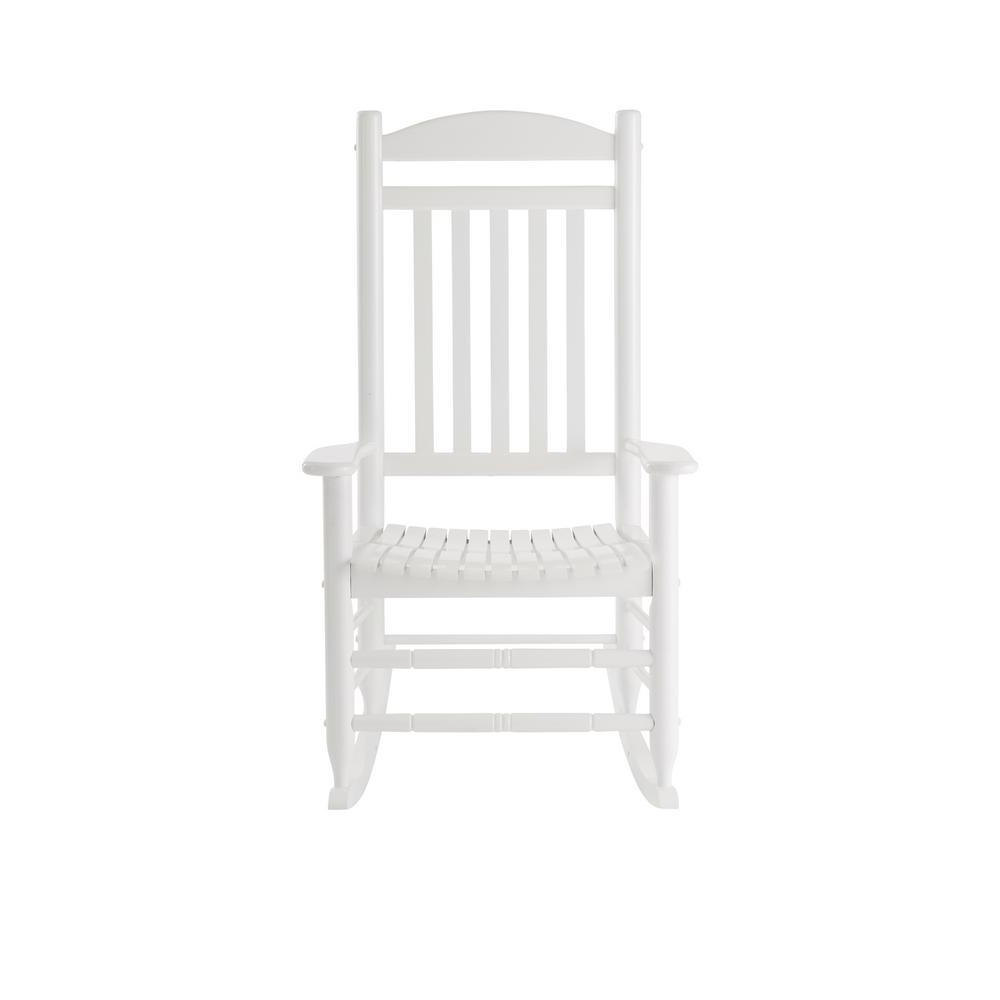 Rocking Chairs At Home Depot Intended For Trendy Hampton Bay Glossy White Wood Outdoor Rocking Chair It 130828w – The (View 15 of 15)