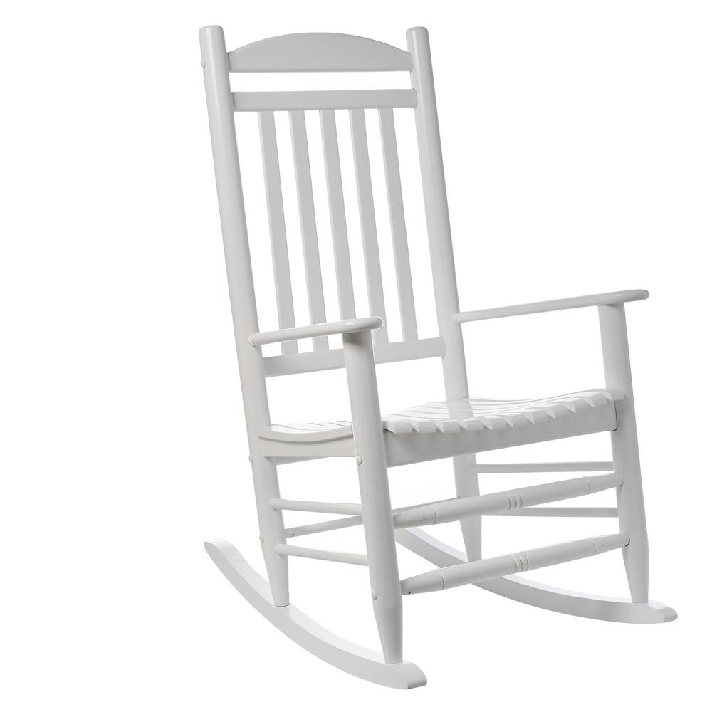 Rocking Chairs At Home Depot With Regard To Popular Hampton Bay White Wood Outdoor Rocking Chair 1. (View 2 of 15)