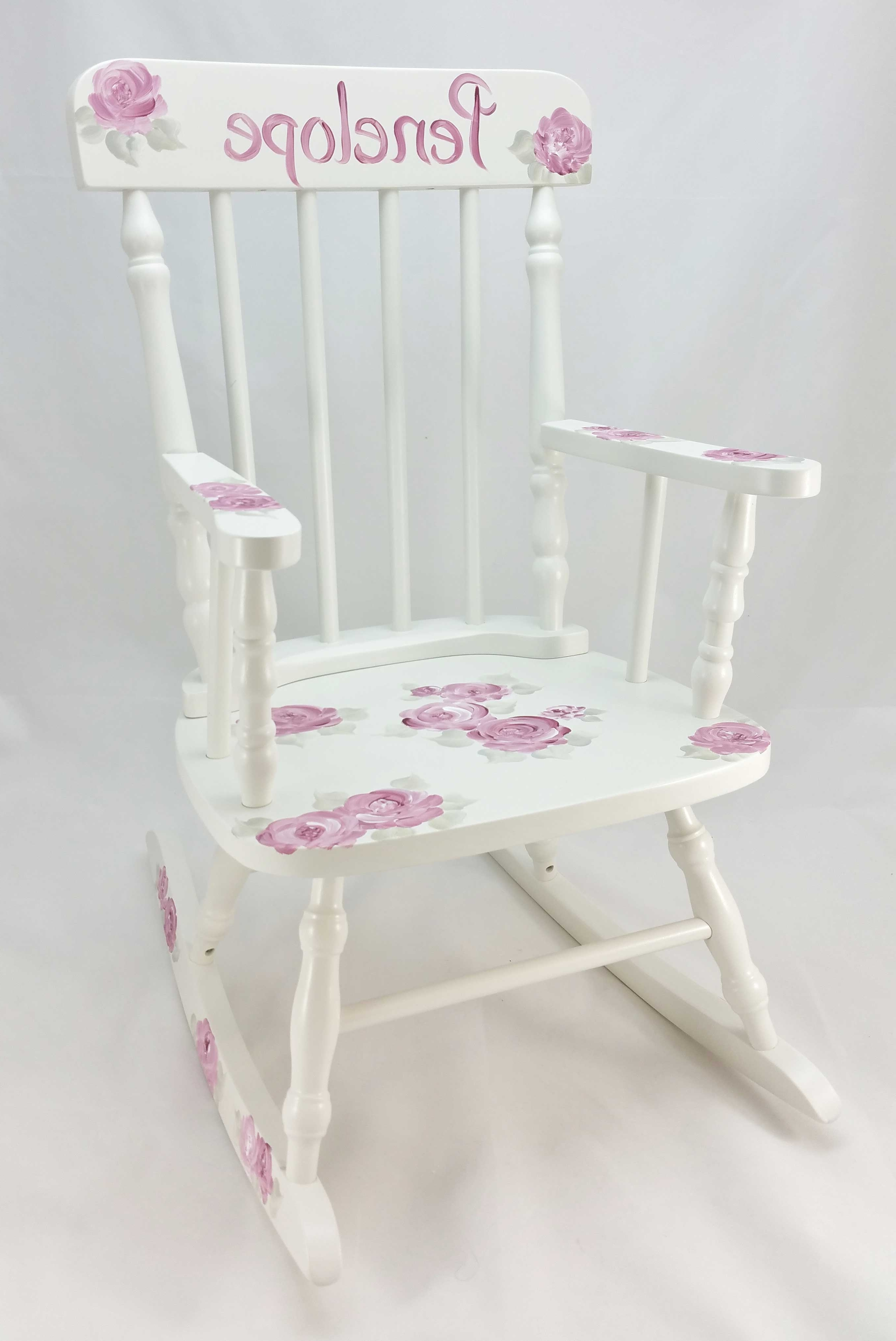 Rocking Chairs At Roses For Best And Newest Deep Pink Roses Personalized Rocking Chair – Purple Pumpkin Gifts (View 9 of 15)