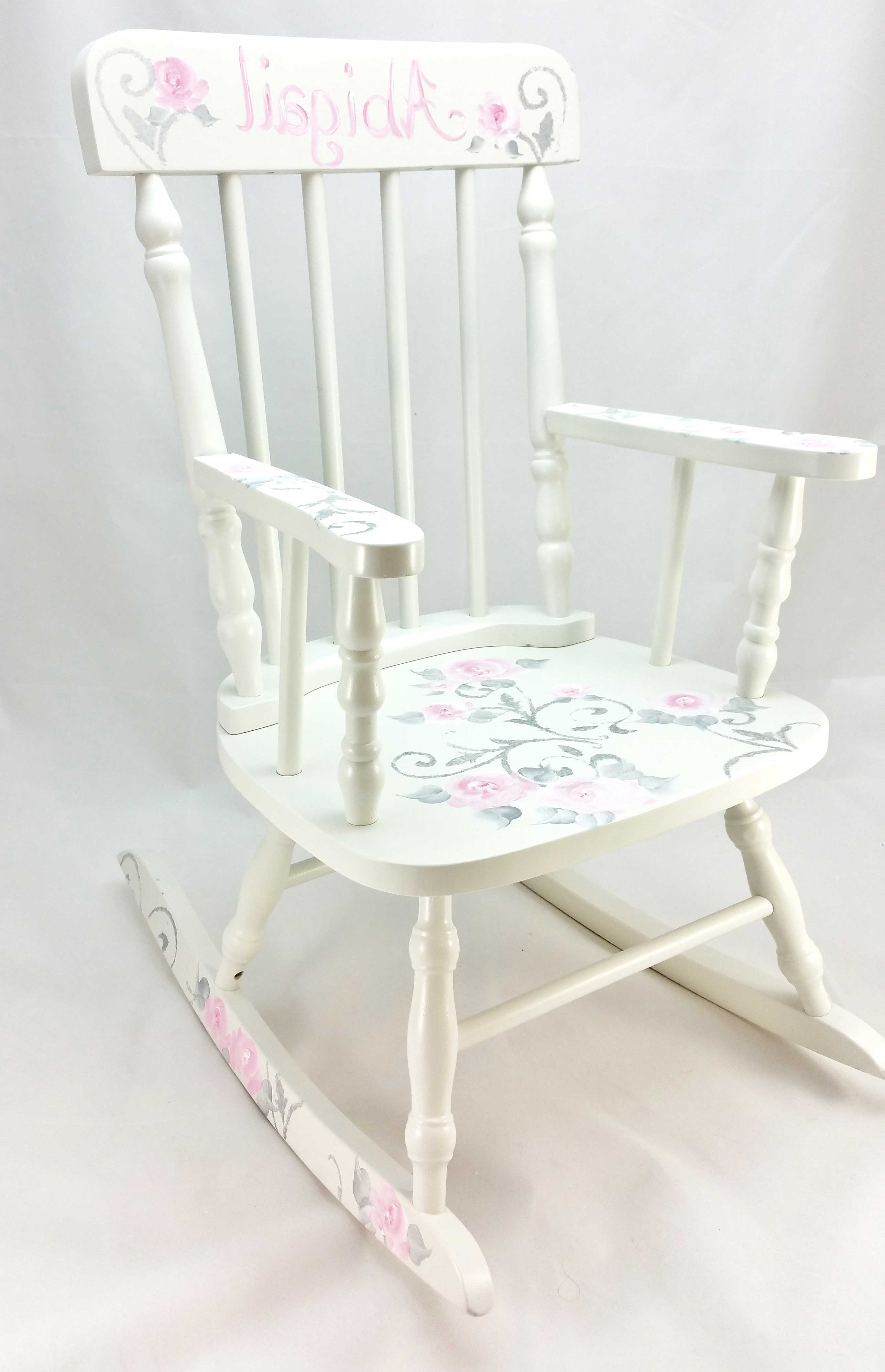 Rocking Chairs At Roses Intended For Trendy Damask And Roses Personalized Rocking Chair – Purple Pumpkin Gifts (View 5 of 15)