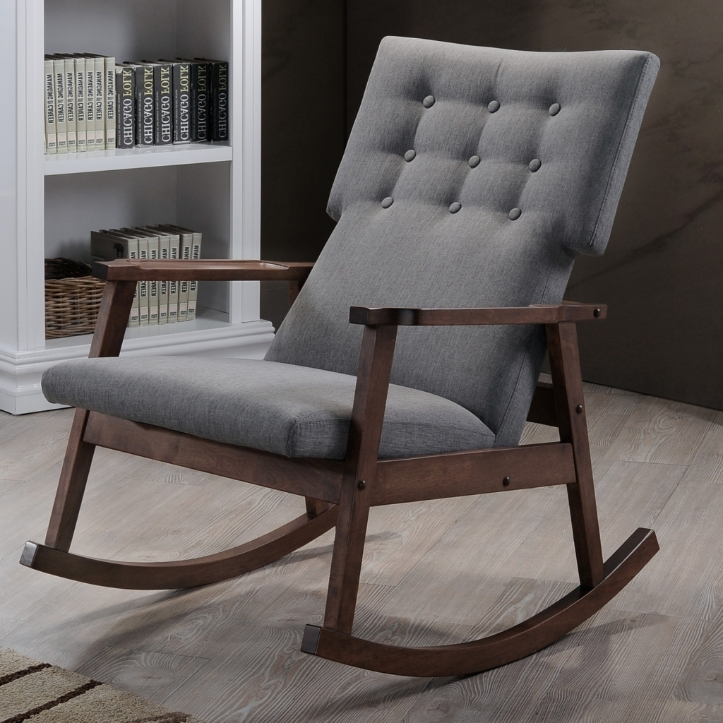 Rocking Chairs At Target Regarding Most Recent Furniture Gray Upholstered Rocking Chair With Dark Wood Frame On In (View 15 of 15)