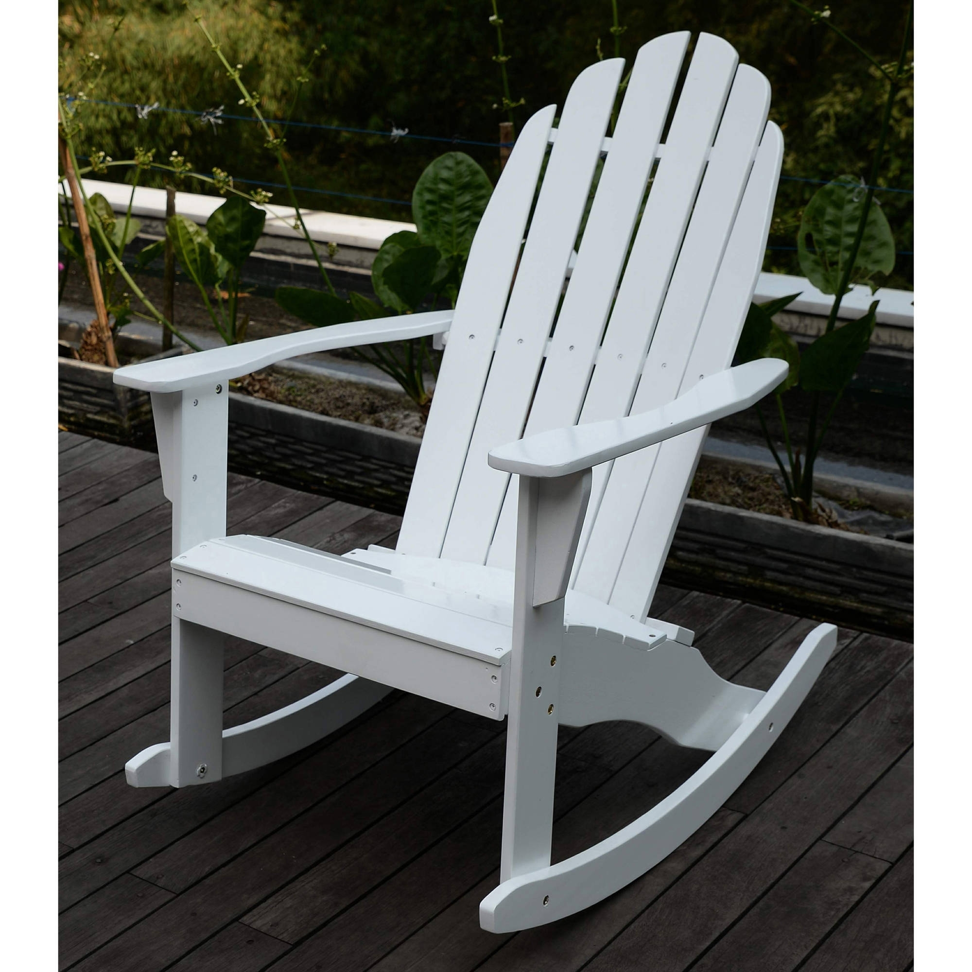 Rocking Chairs At Walmart Within Trendy Adirondack Rocking Chair, White – Walmart (View 4 of 15)