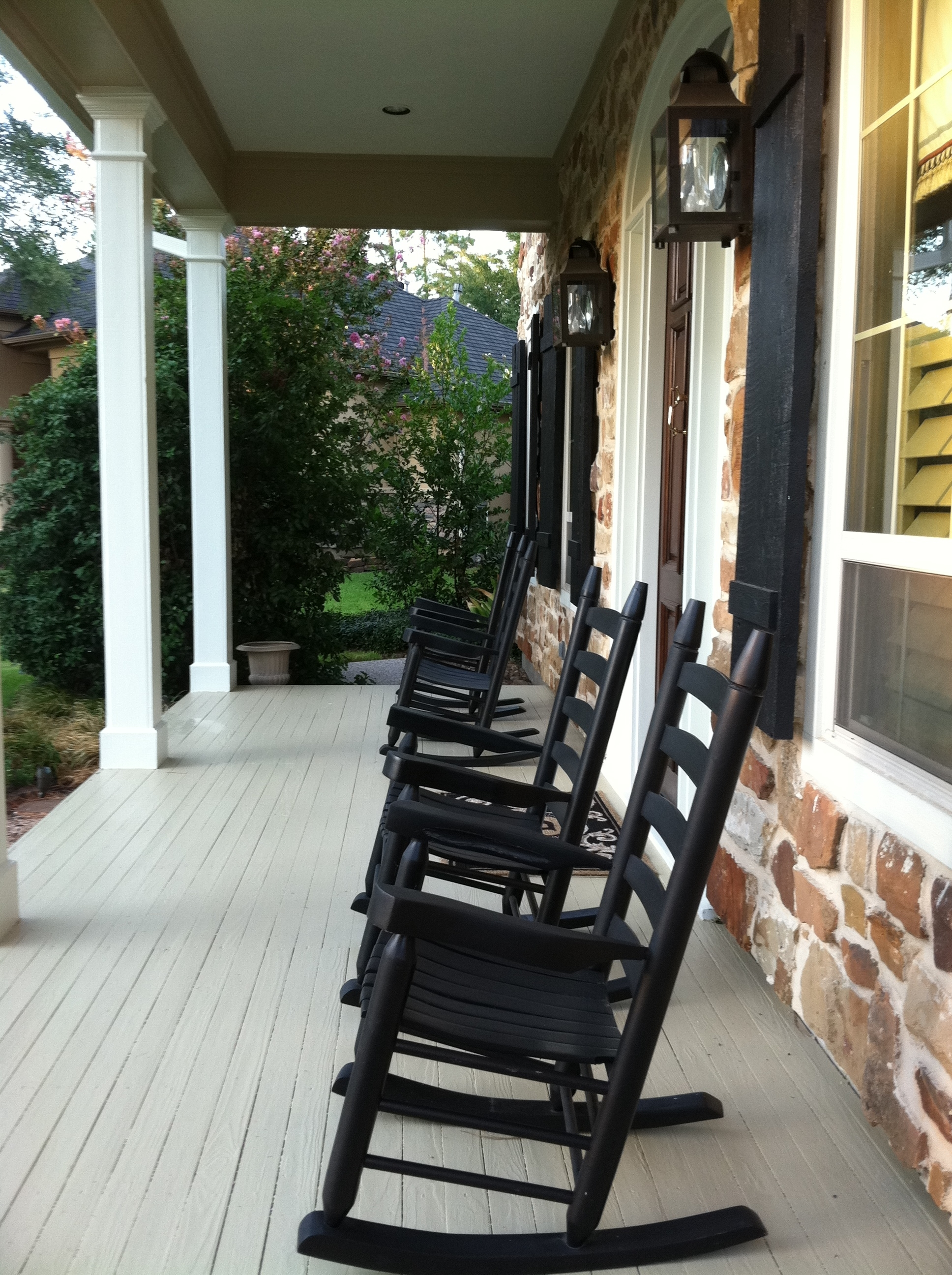 Rocking Chairs For Front Porch Inside Popular Front Porch Furnitures Set Using Black Stained Wooden Rocking Chair (View 11 of 15)
