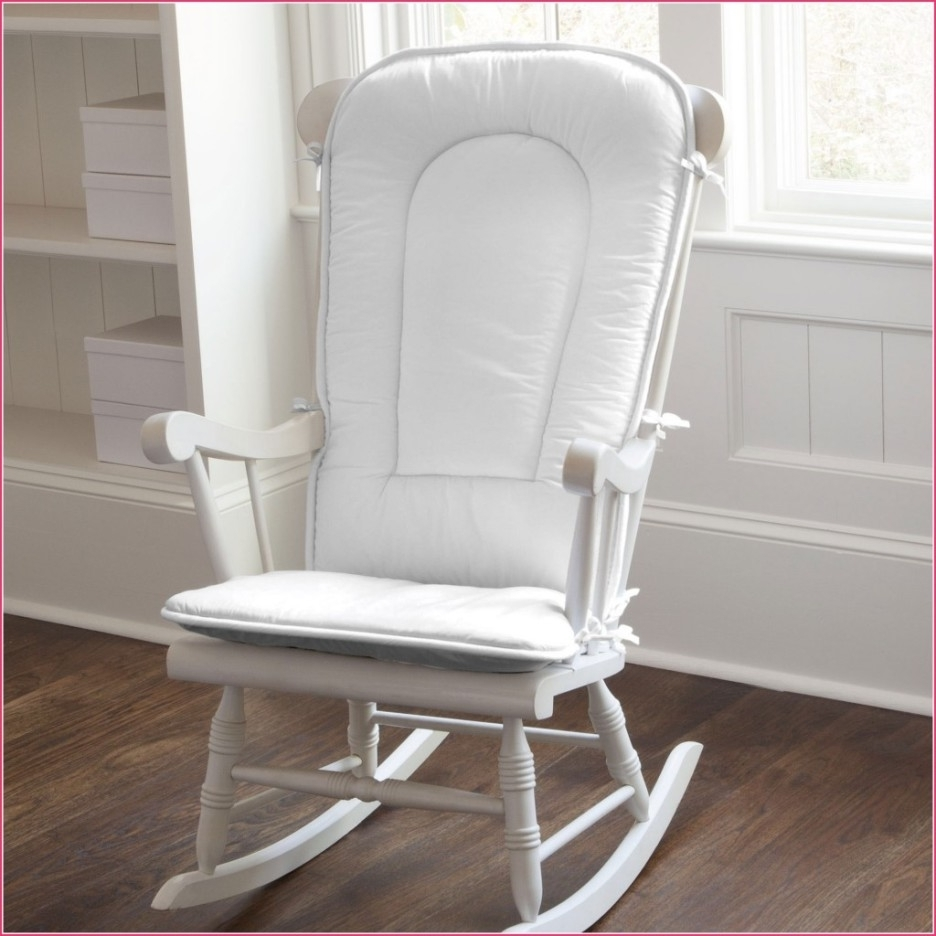 Rocking Chairs For Nursery In Most Popular Baby Nursery Nice Looking White Painted Wooden Glider Rocking Chair (View 12 of 15)