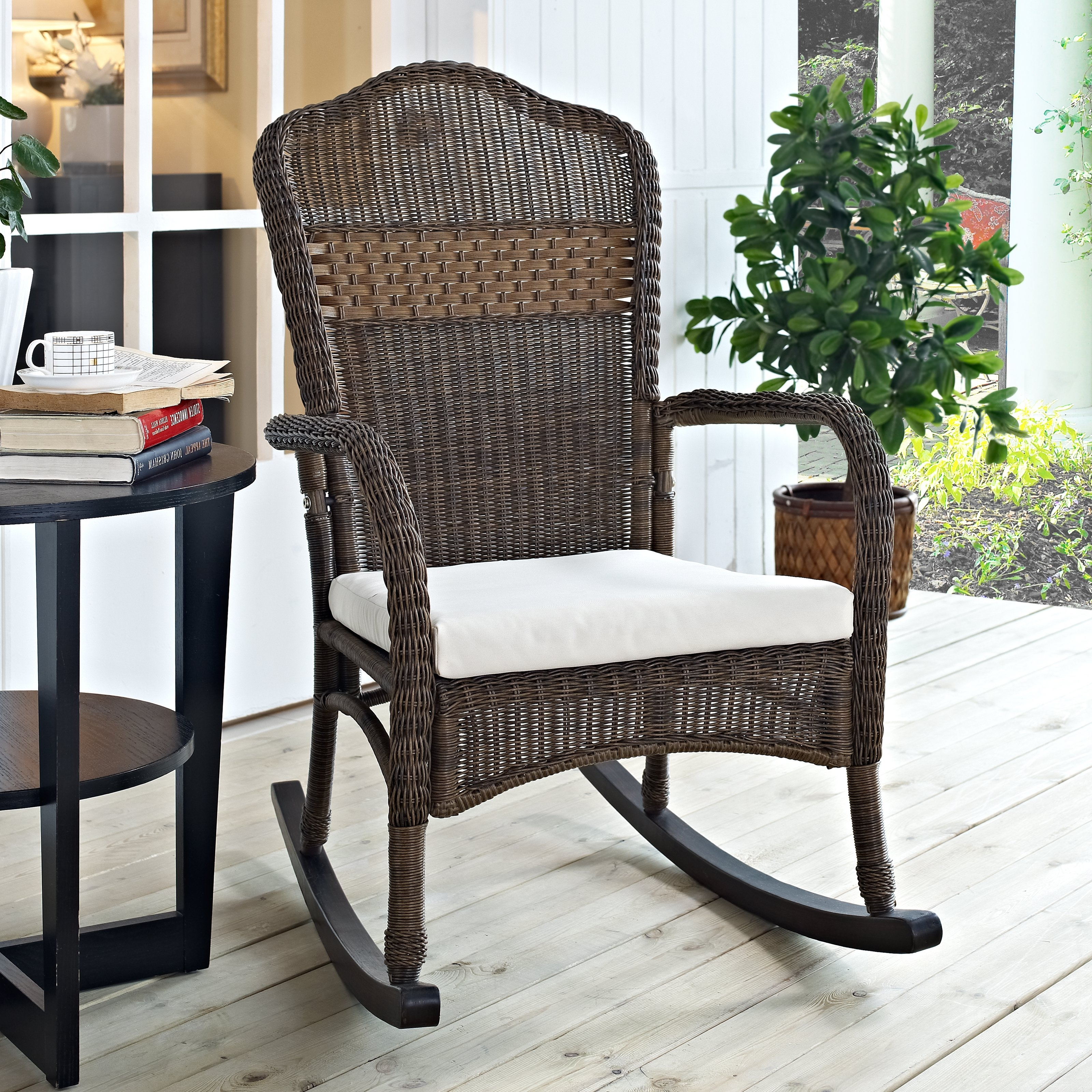 Rocking Chairs With Cushions Inside Most Up To Date Coral Coast Mocha Resin Wicker Rocking Chair With Beige Cushion (View 11 of 15)