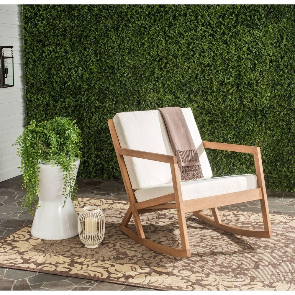 Safavieh Vernon Teak Brown Outdoor Patio Rocking Chair With Beige With Recent Teak Patio Rocking Chairs (View 12 of 15)
