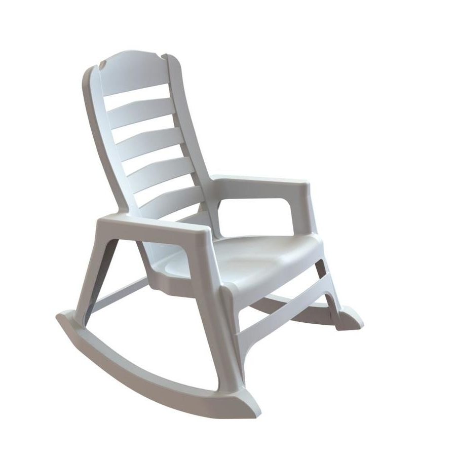 Shop Adams Mfg Corp Stackable Resin Rocking Chair At Lowes Regarding Trendy Plastic Patio Rocking Chairs (View 13 of 15)