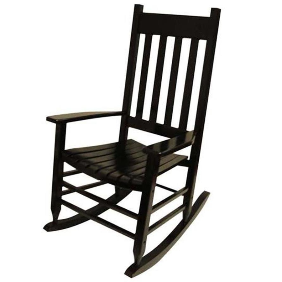Shop Garden Treasures Acacia Rocking Chair With Slat Seat At Lowes For Preferred Black Rocking Chairs (View 3 of 15)
