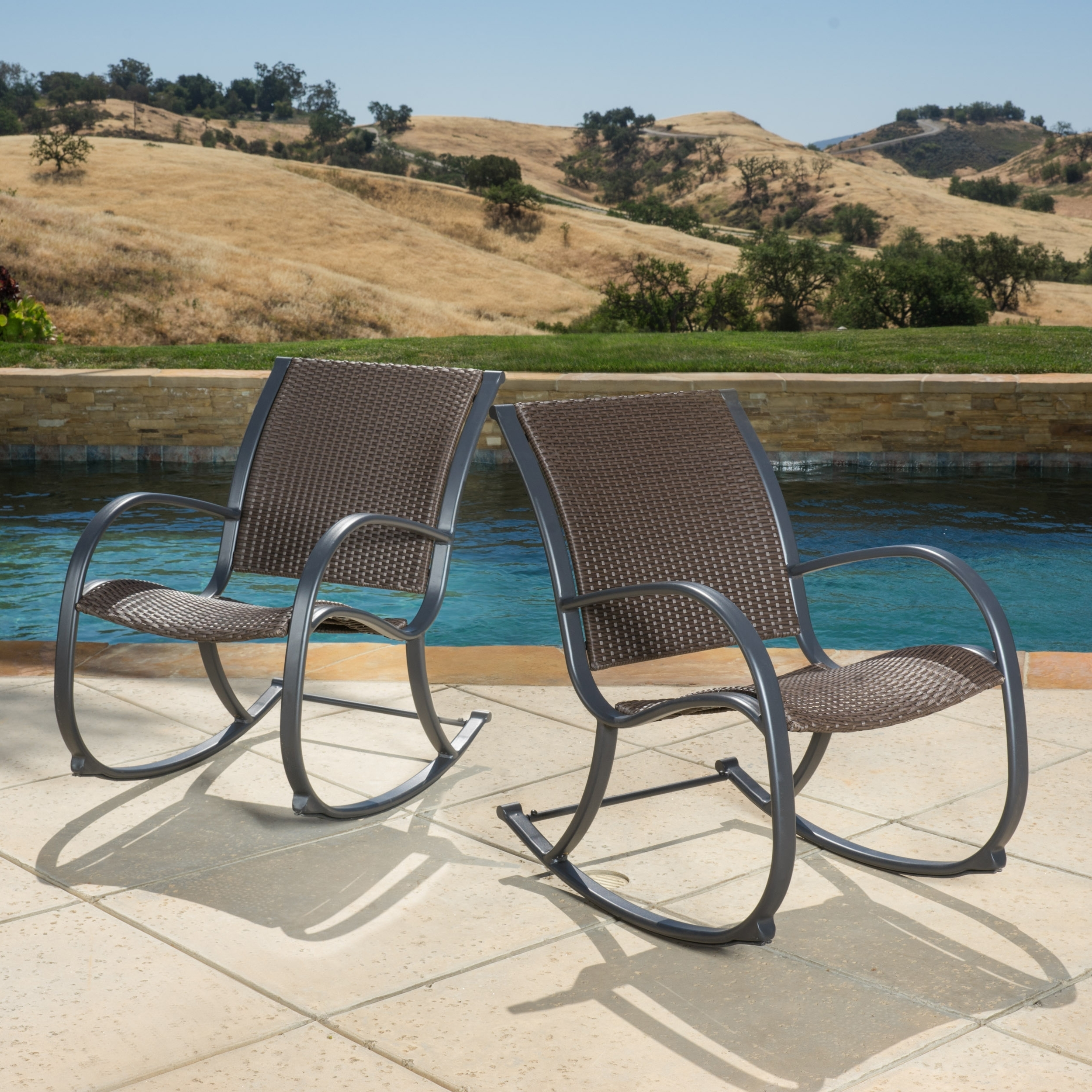 Shop Gracie's Outdoor Wicker Rocking Chair (Set Of 2)Christopher Regarding Popular Wicker Rocking Chairs Sets (View 11 of 15)