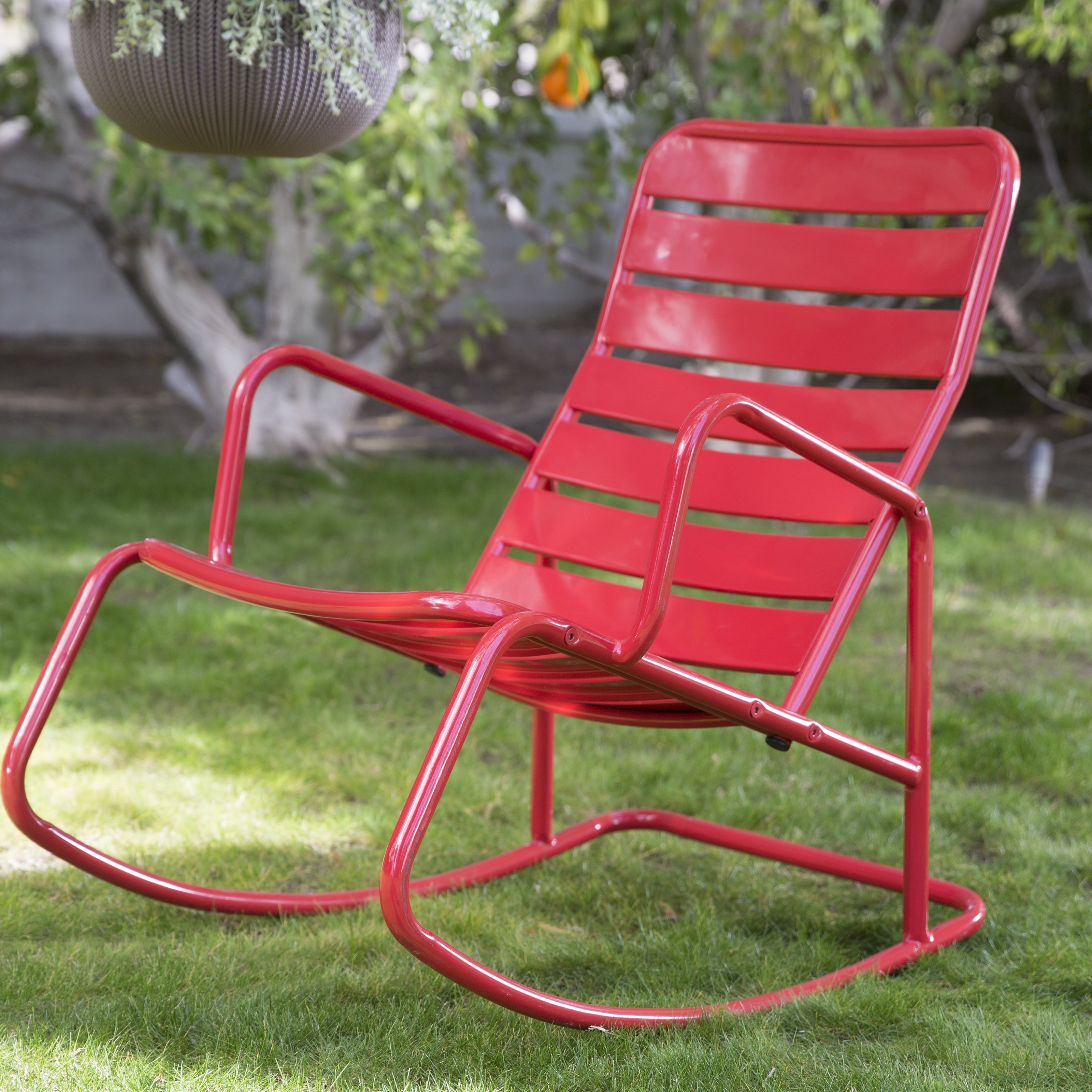 Trendy Belham Living Adley Outdoor Metal Slat Rocking Chair – Walmart Inside Iron Rocking Patio Chairs (View 14 of 15)