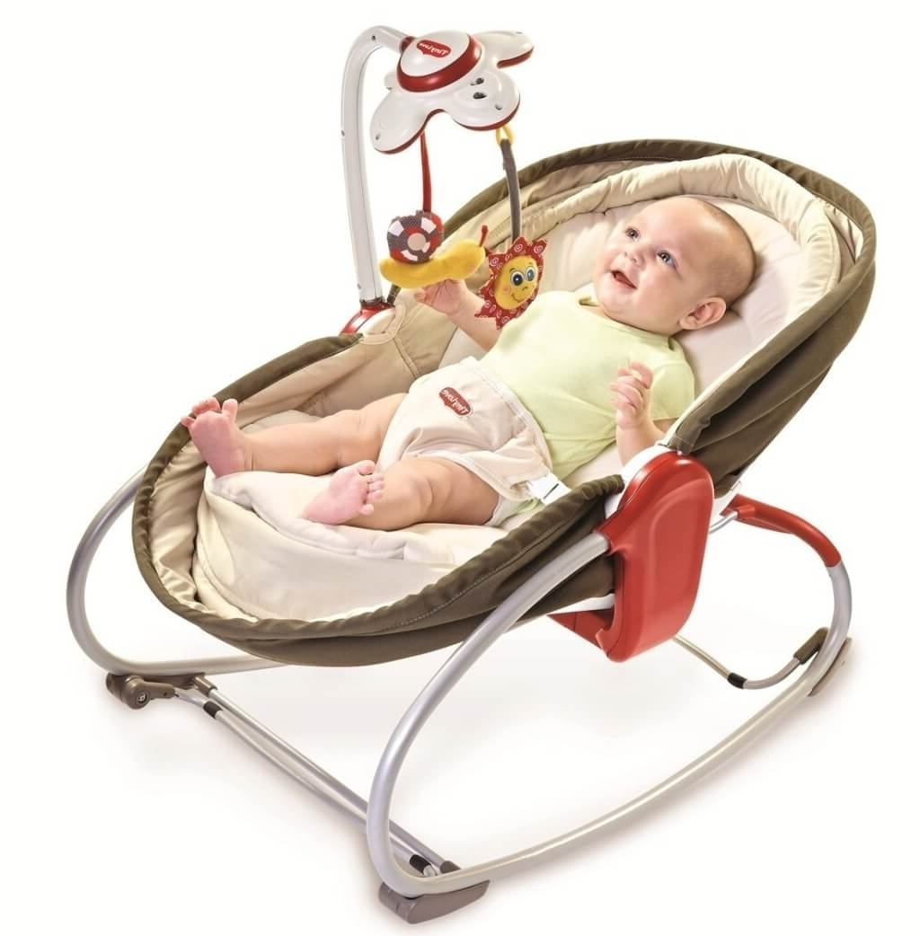 Trendy Furniture: Cute Brown Baby Rocking Chair Design With Bouncer – Cool With Rocking Chairs For Babies (View 4 of 15)