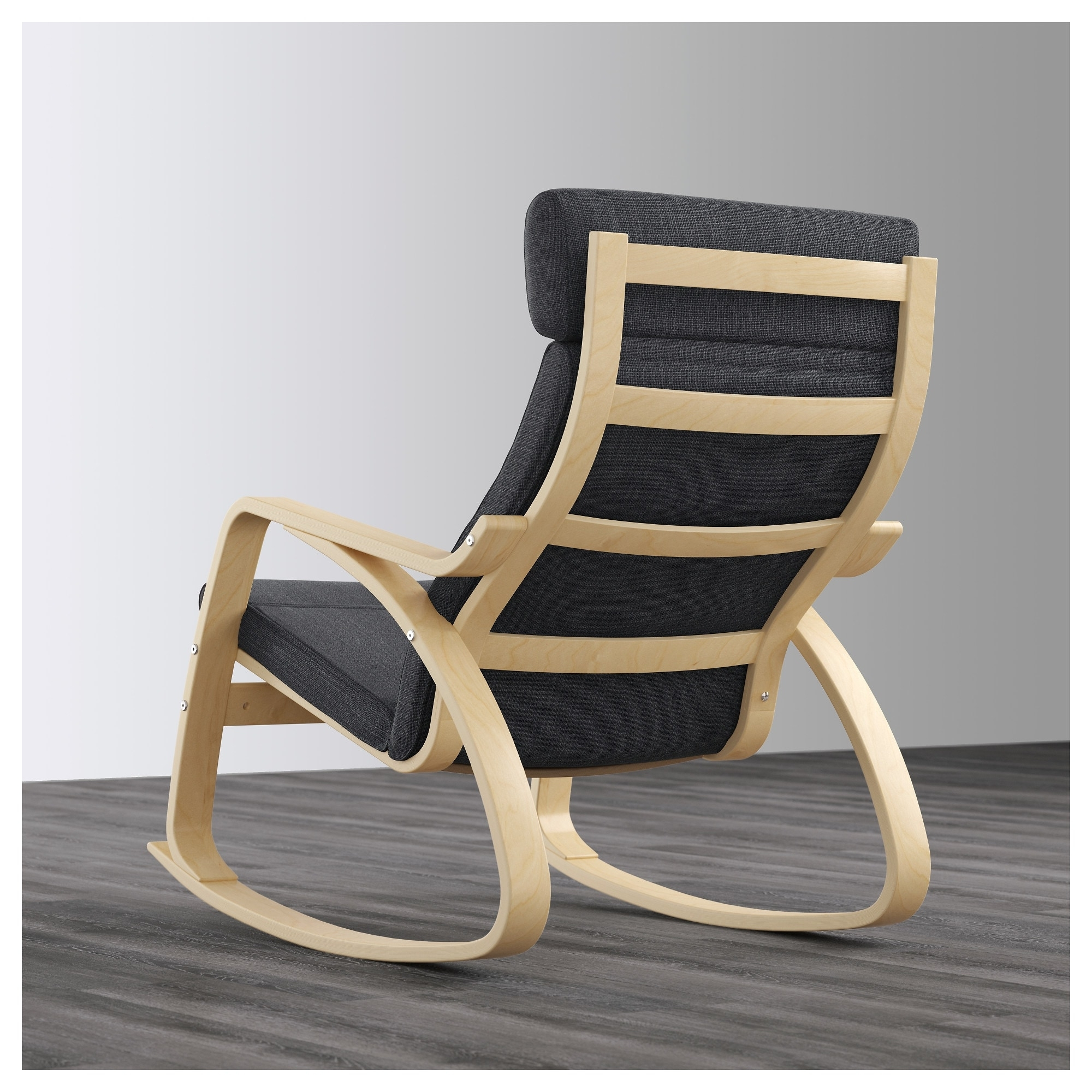 Trendy High Back Rocking Chairs With Regard To Poäng Rocking Chair Birch Veneer/hillared Anthracite – Ikea (View 5 of 15)
