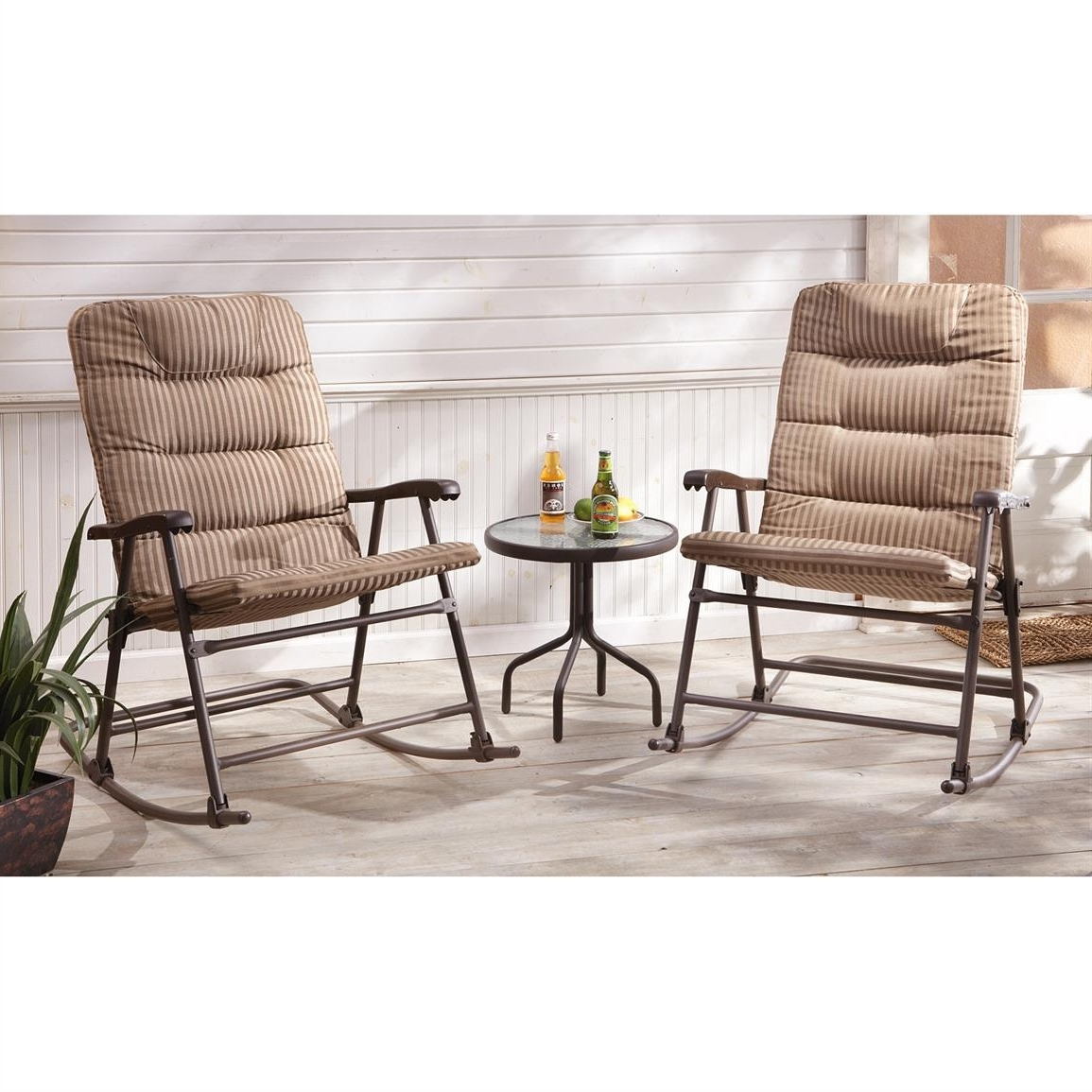 Trendy Outside Rocking Chair Sets Pertaining To Castlecreek Padded Outdoor Rocking Chair Set, 3 Piece –  (View 11 of 15)