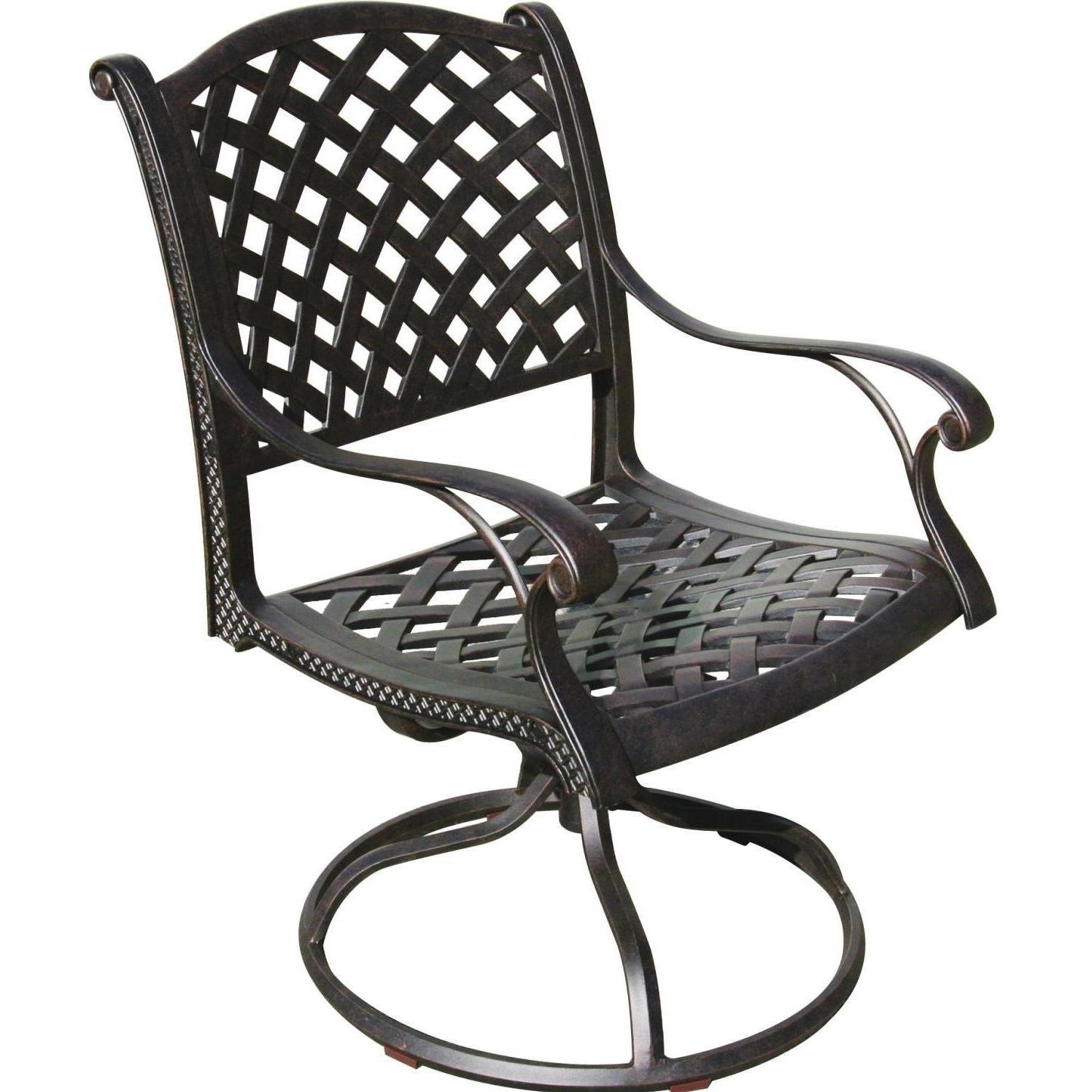 Trendy Patio Rocking Swivel Chairs In Darlee Nassau Cast Aluminum Patio Swivel Rocker Dining Chair (View 7 of 15)