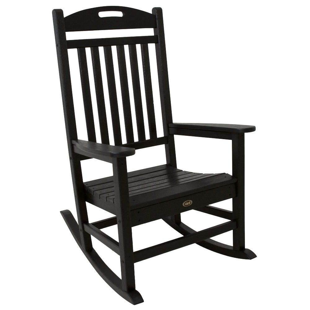 Trex Outdoor Furniture Yacht Club Charcoal Black Patio Rocker Throughout Most Current Plastic Patio Rocking Chairs (View 7 of 15)