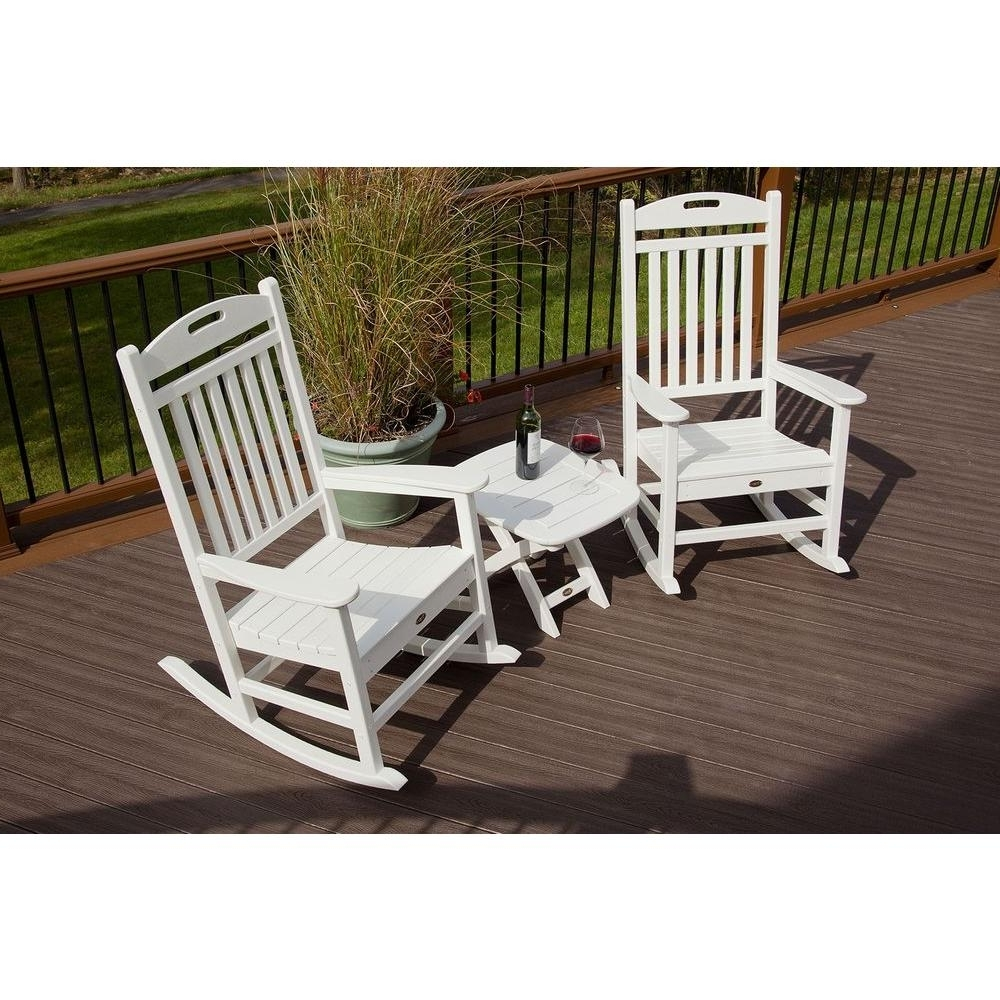 Trex Outdoor Furniture Yacht Club Classic White 3 Piece Patio Rocker In Fashionable Outdoor Rocking Chairs With Table (View 8 of 15)