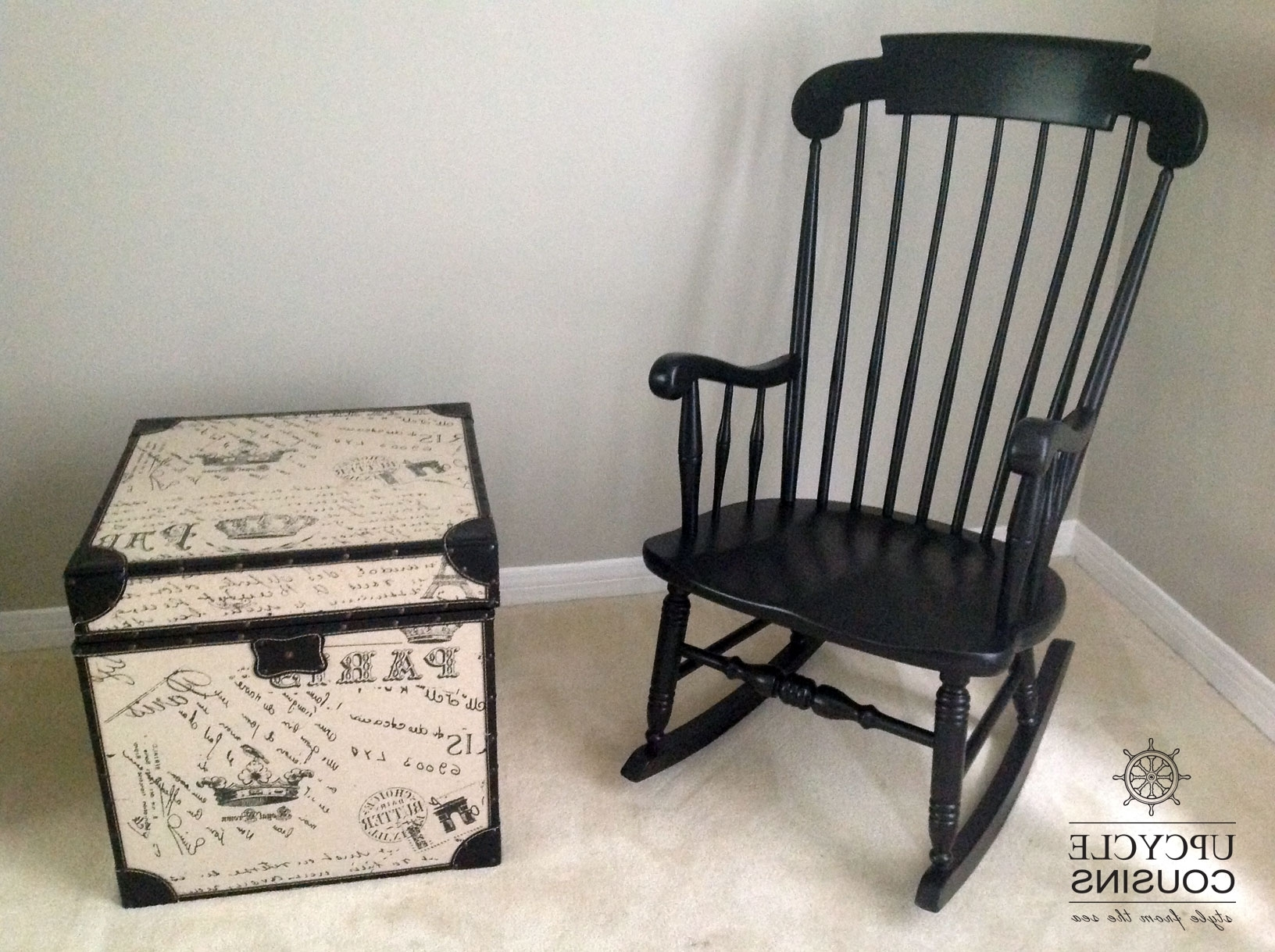 Upcycled Rocking Chairs Inside Favorite Cool Black Indoor/outdoor Rocking Chair (View 4 of 15)