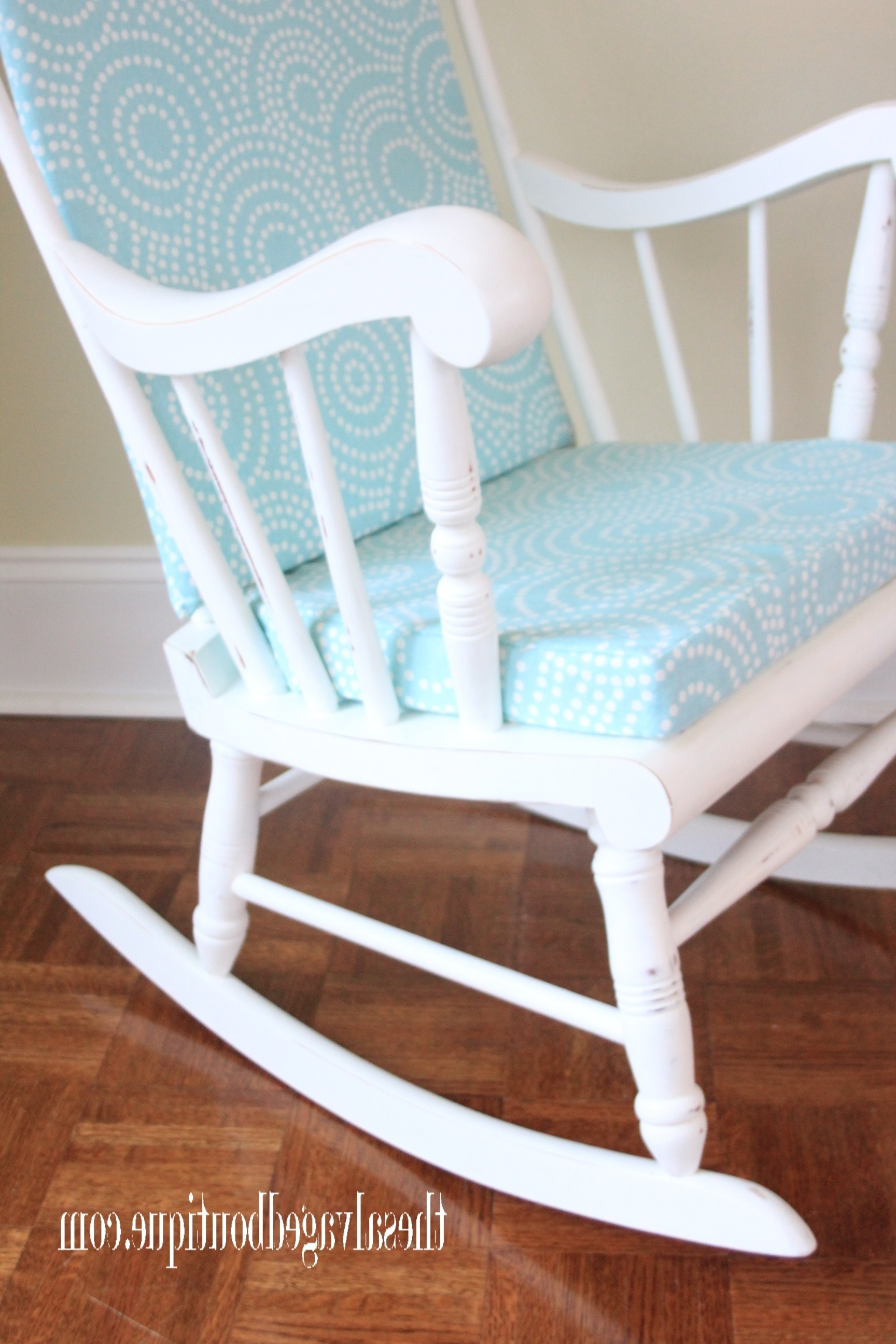 Upcycled Rocking Chairs Throughout Most Current Grandpa's Rocking Chair Brightened Up For New Baby Nursery (View 3 of 15)