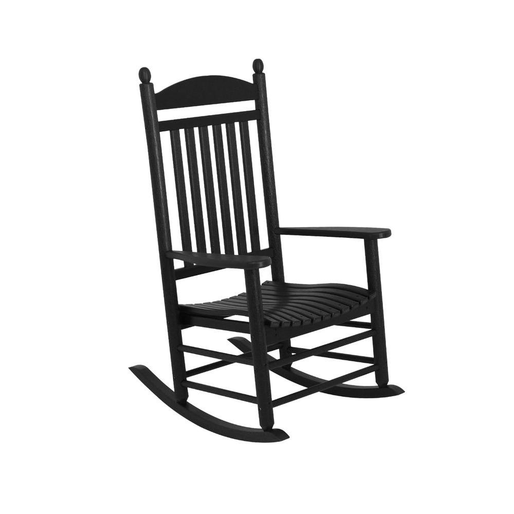 Used Patio Rocking Chairs With Well Liked Polywood Jefferson Slate Grey Patio Rocker J147gy – The Home Depot (View 11 of 15)