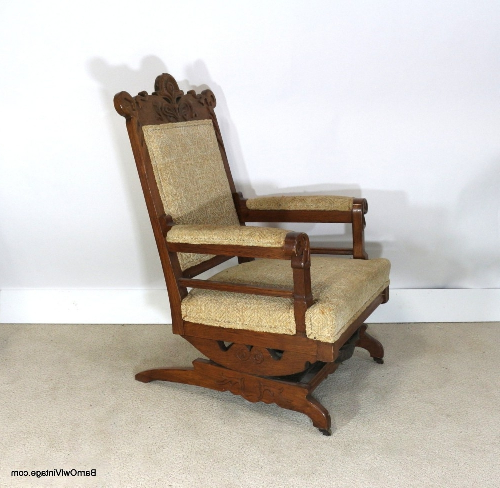 Victorian Rocking Chairs Within Well Known 1880S Rocking Chair, Upholstered Slide Rocker, Pale Yellow (View 13 of 15)