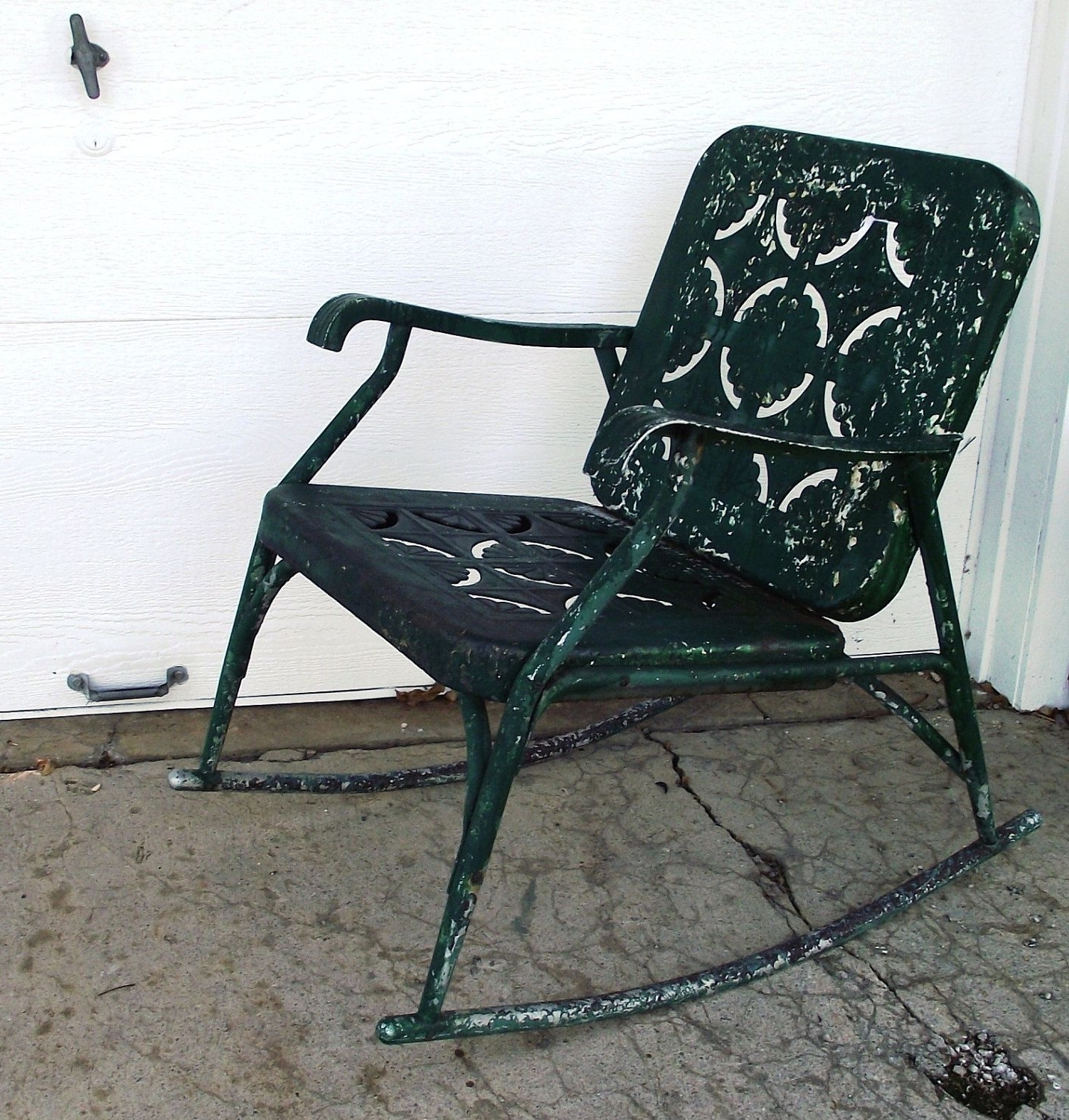 Vintage Metal Rocking Patio Chairs For Recent Vintage Garden Green Metal Rocking Chair Cutoutjodysvintage (View 11 of 15)