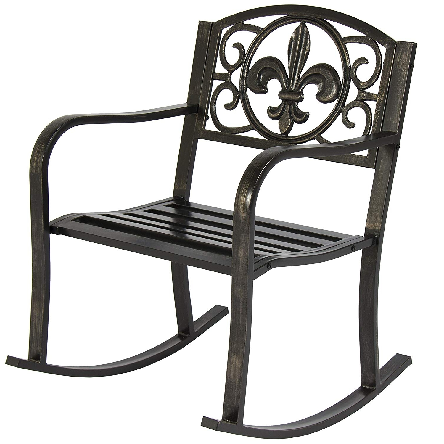 Vintage Metal Rocking Patio Chairs In Famous Amazon : Best Choice Products Metal Rocking Chair Seat For Patio (View 5 of 15)
