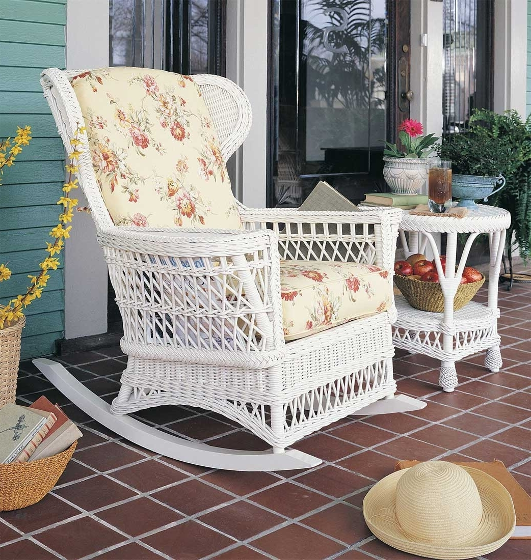 Vintage Wicker Rocking Chair Intended For Most Up To Date Wicker Rocking Chair With Magazine Holder (View 10 of 15)