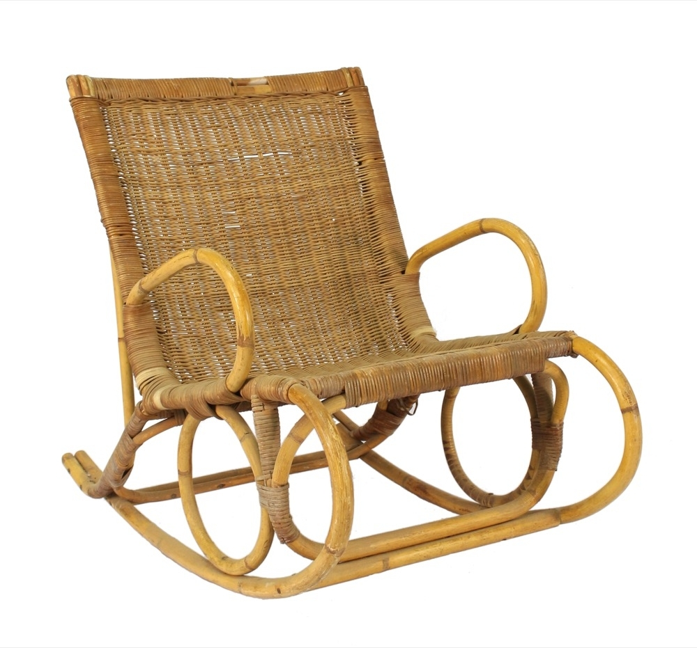 Vintage Wicker Rocking Chairs With Trendy A Vintage Bamboo And Wicker Rocking Chair, 20th Century – Omni Fine (View 9 of 15)