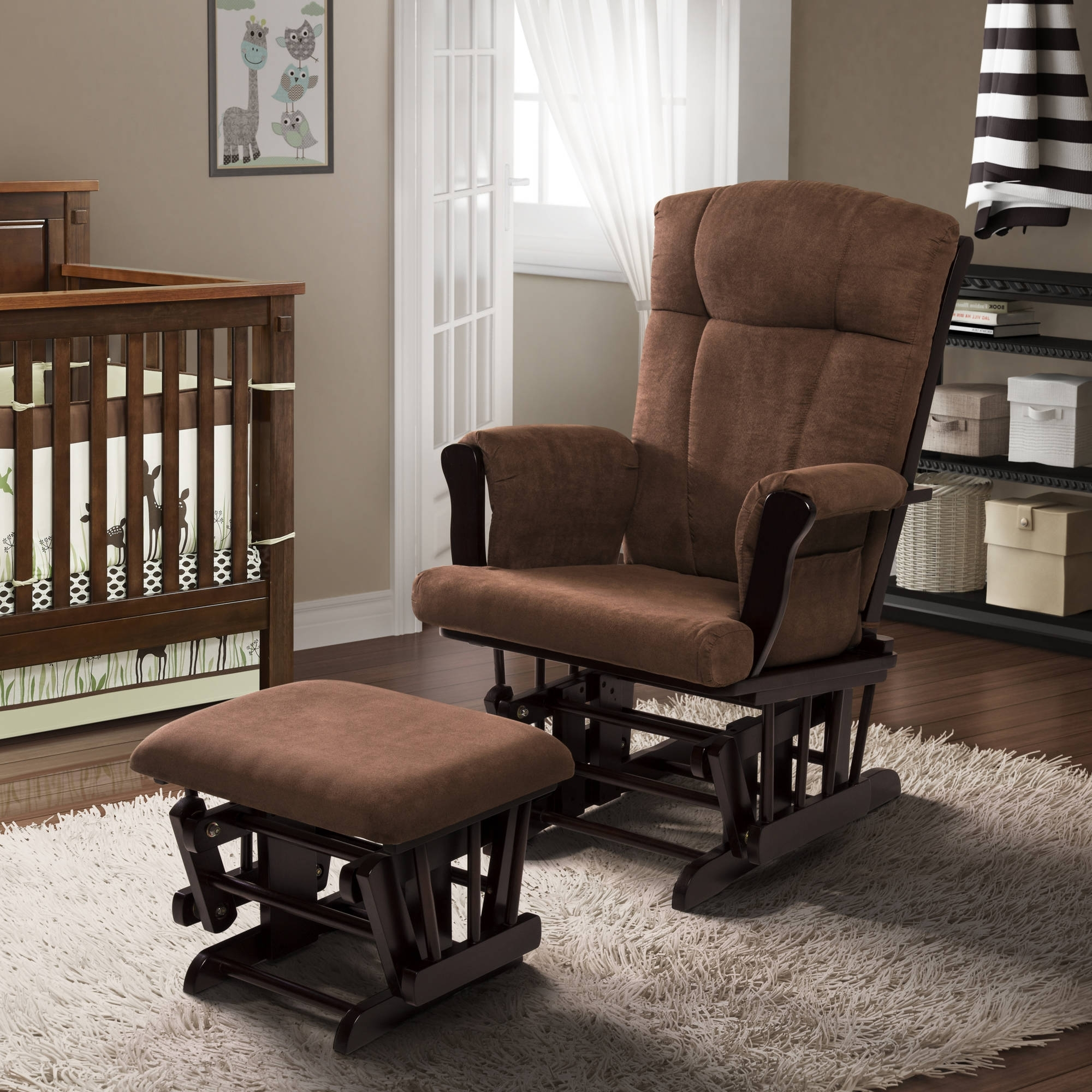 Walmart Rocking Chairs Inside Preferred Baby Relax Glider Rocker And Ottoman Espresso With Chocolate (View 11 of 15)