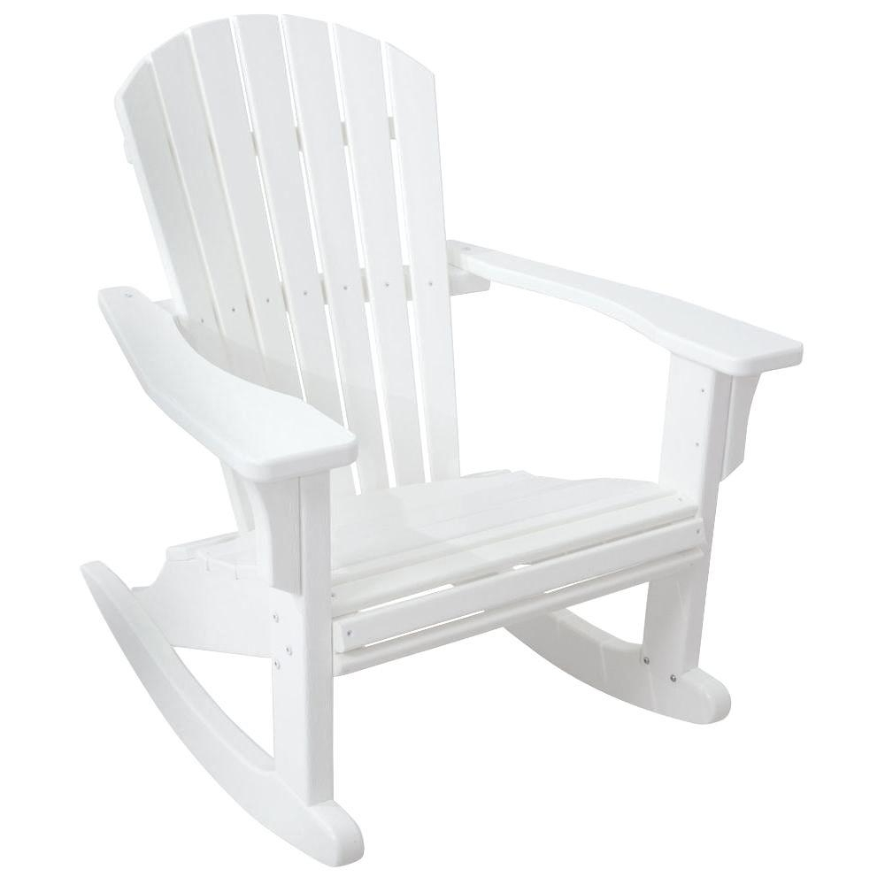 Well Known Plastic Patio Rocking Chairs Intended For Polywood Seashell White Patio Rocker Shr22Wh – The Home Depot (View 14 of 15)
