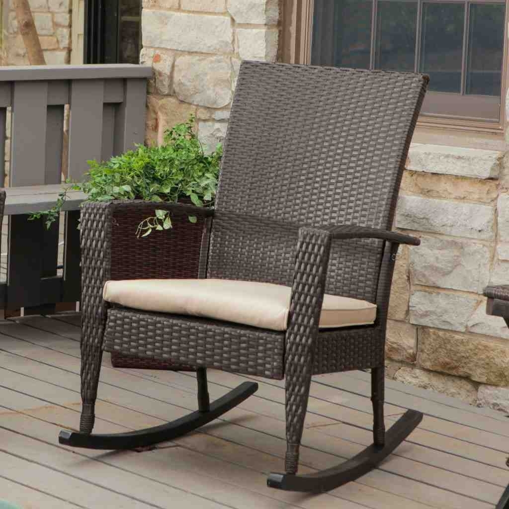 Well Known Wicker Rocking Chairs And Ottoman Pertaining To Furniture: Inspiring Outdoor Rocking Chair For Your Porch Or Your (View 13 of 15)