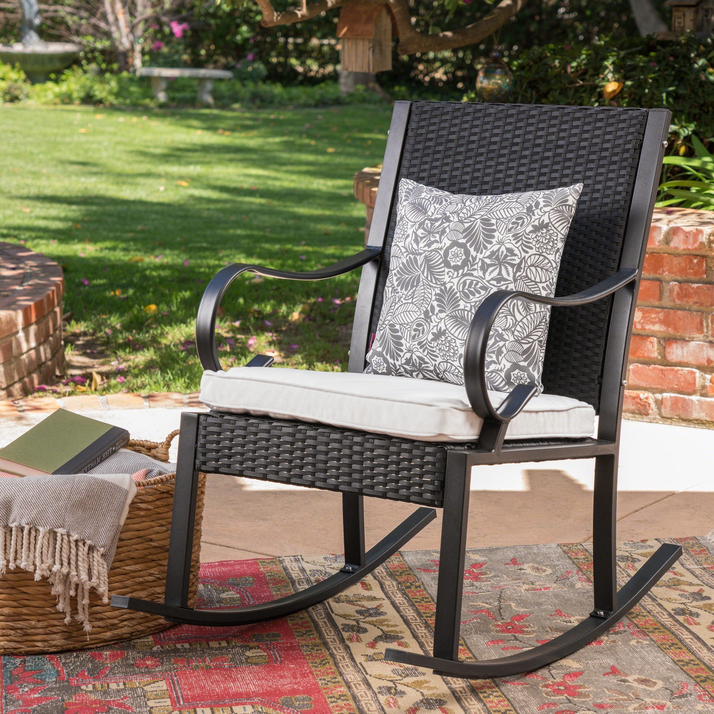 Well Known Wicker Rocking Chairs With Cushions With Regard To August Grove Kampmann Outdoor Wicker Rocking Chair With Cushions (View 7 of 15)