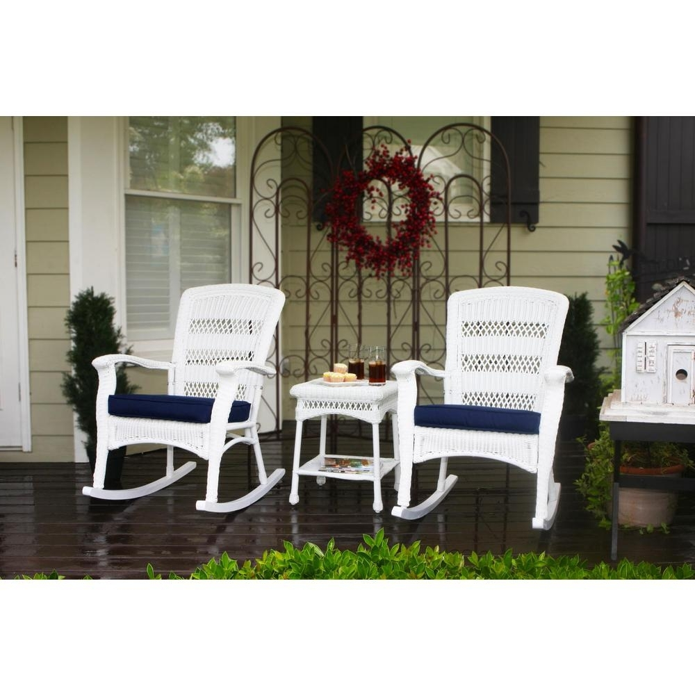 Well Liked Outside Rocking Chair Sets Inside Tortuga Outdoor Portside Plantation White 3 Piece Wicker Outdoor (View 13 of 15)