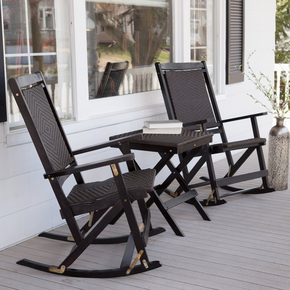 White Patio Rocking Chair Wood Wicker Set Bradley Slat 67 With Regard To Well Liked Outside Rocking Chair Sets (View 14 of 15)