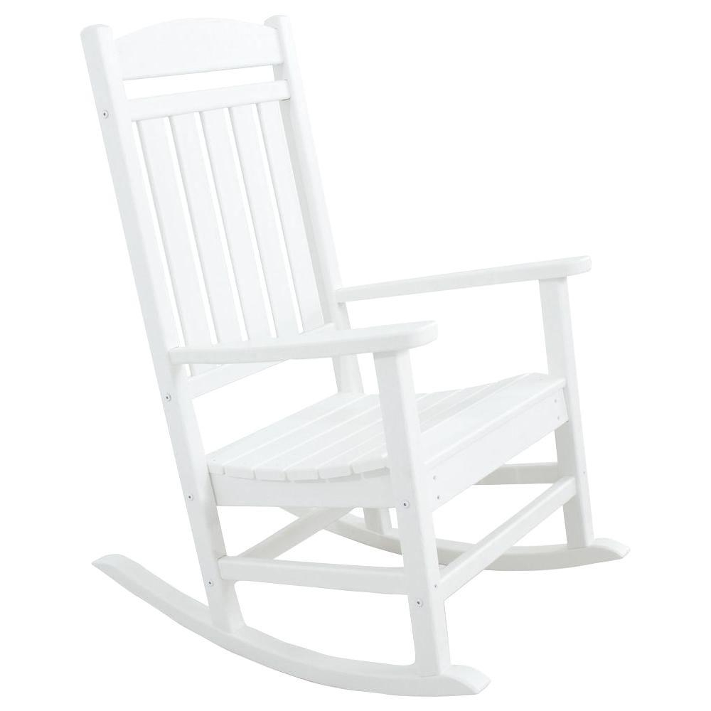 White Resin Patio Rocking Chairs Inside Most Popular White – Rocking Chairs – Patio Chairs – The Home Depot (View 5 of 15)