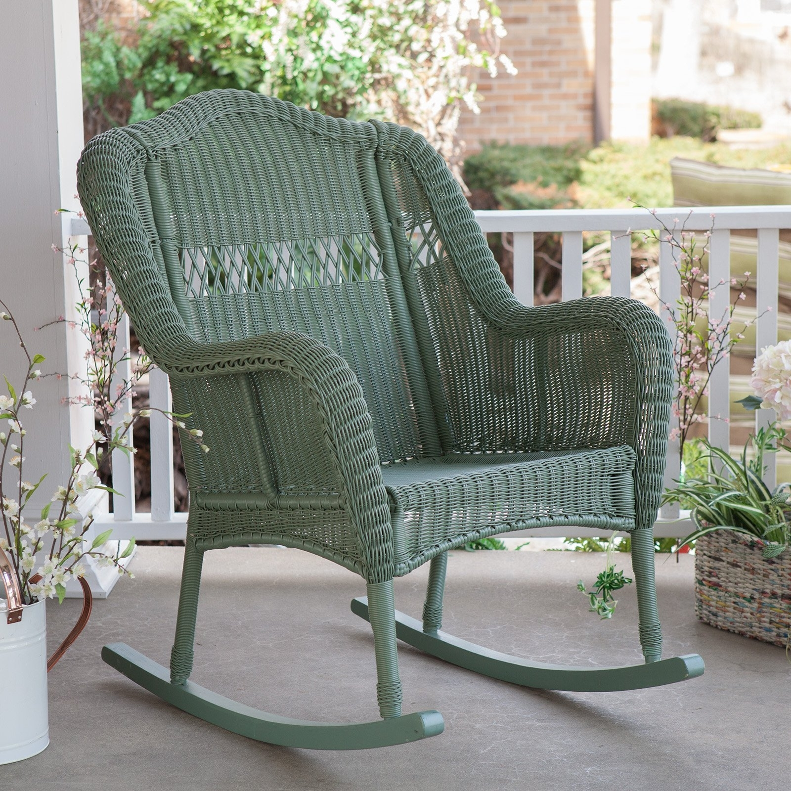 Wicker Rocking Chair With Magazine Holder Intended For Best And Newest White Rocking Chair Outdoor Walmart Outdoor Chair Eames Rar White (View 11 of 15)