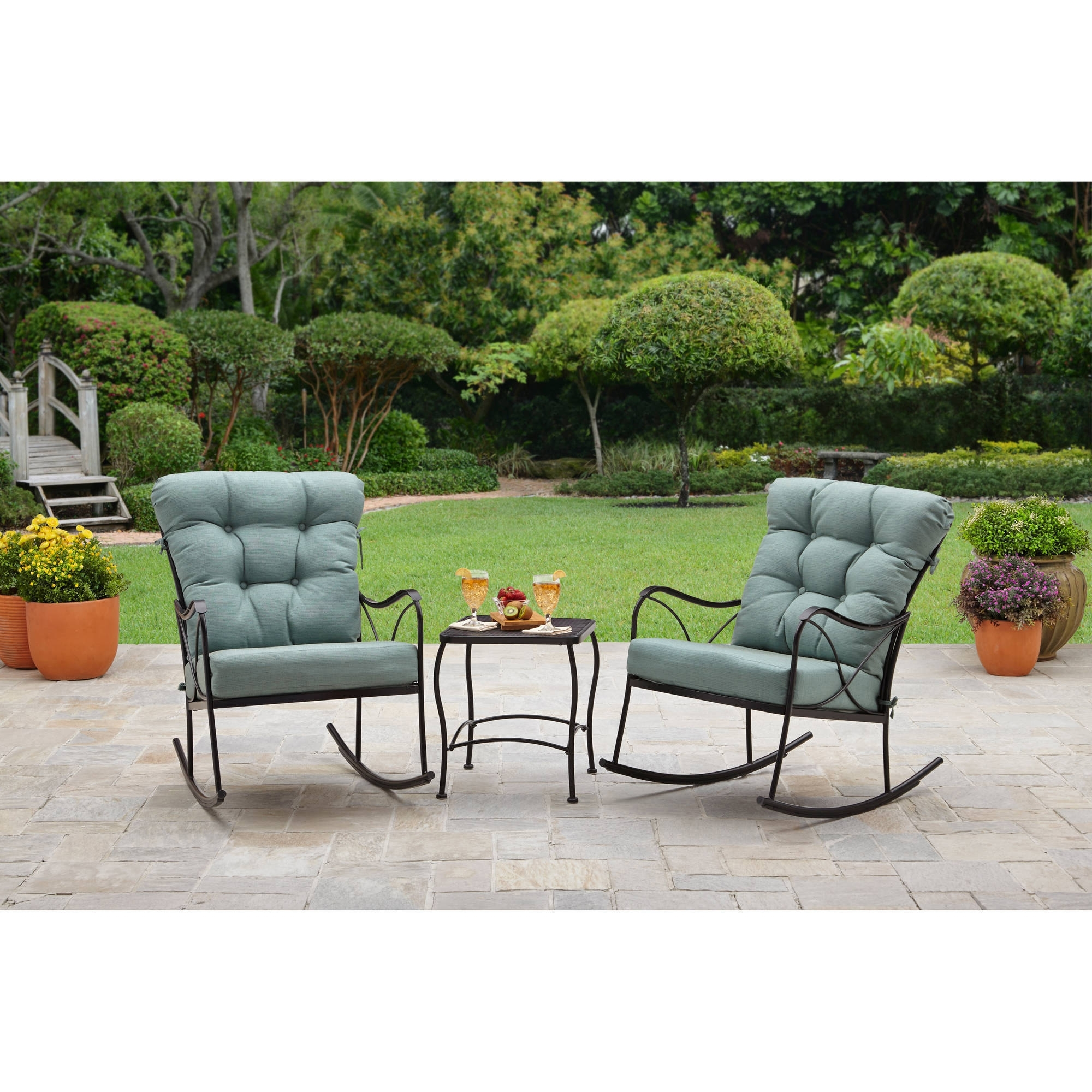 Widely Used Better Homes And Gardens Seacliff 3 Piece Rocking Chair Bistro Set Throughout Patio Rocking Chairs And Table (View 13 of 15)