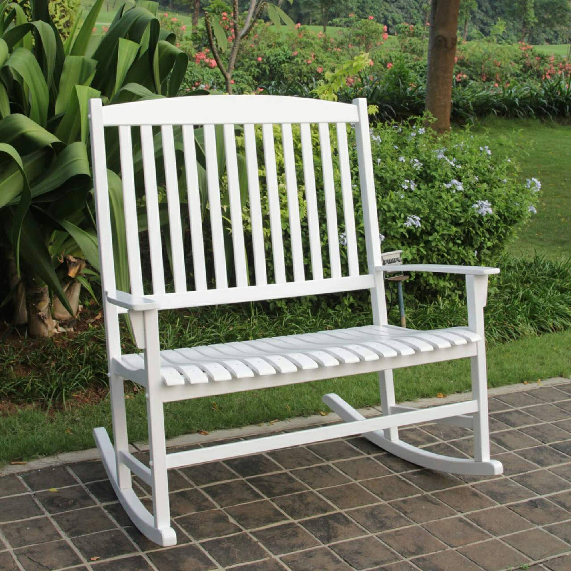 Widely Used Patio Loveseat White Hardwood Outdoor Rocking Chair For 2 Regarding White Patio Rocking Chairs (View 4 of 15)