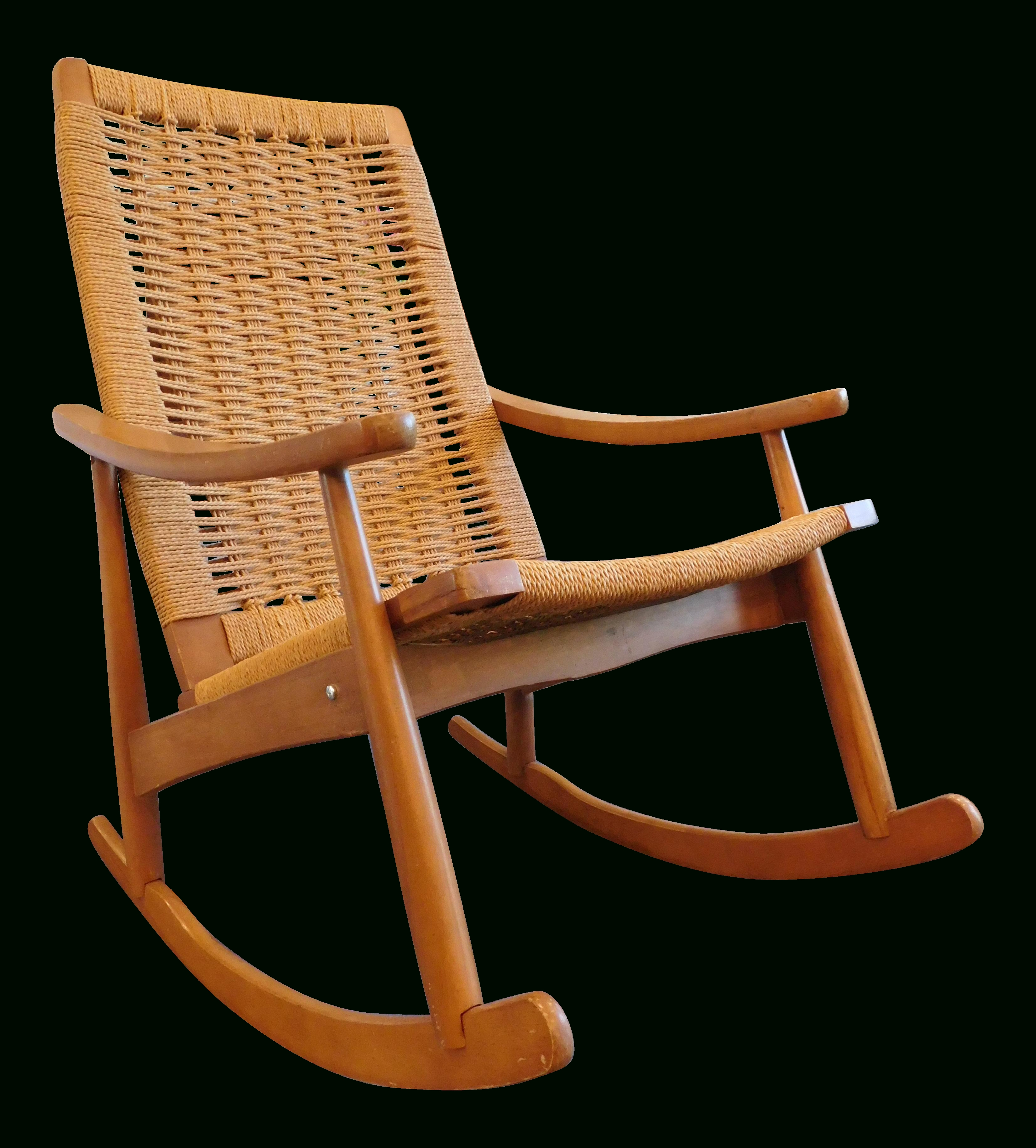 Widely Used Vintage Wicker Rocking Chairs Intended For Vintage Yugoslavian Hans Wegner Style Wicker Rocking Chair (View 14 of 15)