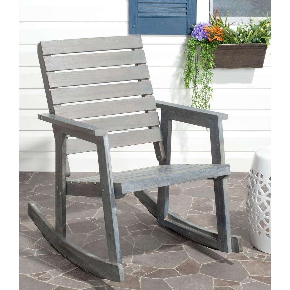 Wooden Patio Rocking Chairs Intended For 2018 Safavieh Alexei Ash Gray Acacia Wood Patio Rocking Chair Fox6702A (View 14 of 15)