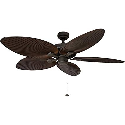 2017 Amazon: Honeywell Palm Island 52 Inch Tropical Ceiling Fan, Five Pertaining To Outdoor Ceiling Fans With Leaf Blades (View 1 of 15)
