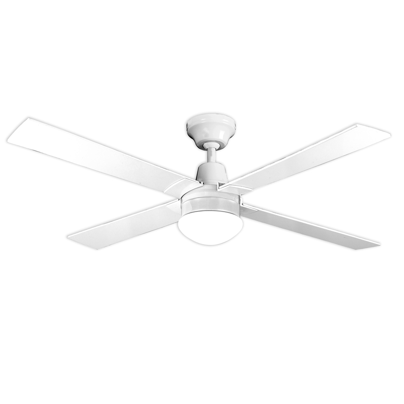 2017 Arlec 120Cm White 4 Blade Ceiling Fan With Oyster Light (View 12 of 15)