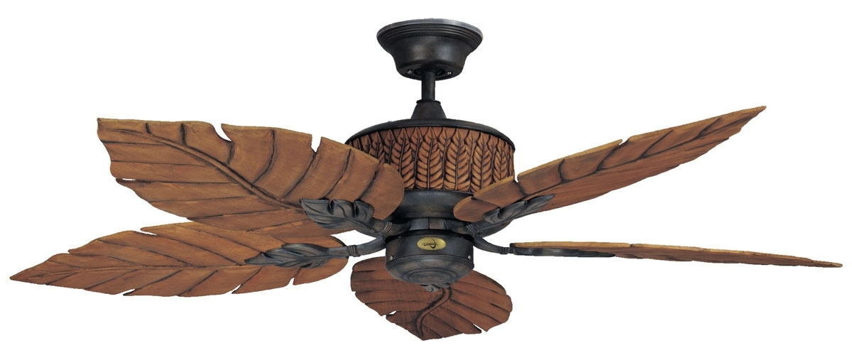 2017 Ceiling Fans Leaf Blades Tropical Fan Palm Attractive Throughout 8 With Leaf Blades Outdoor Ceiling Fans (View 1 of 15)